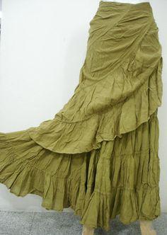 Long wrap skirt.