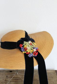 vintage 1930s straw hat 30s wide brim floral by sonnetandbough
