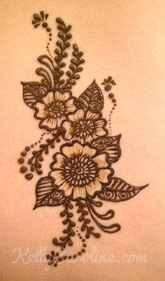 Kelly Caroline Michigan henna tattoo artist. Henna flower tattoo Henna Tatoos, Henna Ink, Henna Body Art, Mehndi Tattoo, Henna Tattoo Designs, Henna Designs Easy, Beautiful Henna Designs, Mehndi Designs, Floral Henna Designs