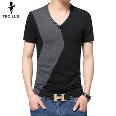 Find More T-Shirts Information about Troilus 2016 Fashion Men's V Neck Button Deco Short Sleeve Casual Patchwork T Shirts Mens Slim T Shirt Tops Men T Shirts Tees,High Quality t-shirt fabric,China t-shirt street Suppliers, Cheap t-shirt sound from Troilus Flagship Store on Aliexpress.com