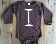 Football Onesie Football Onesie Baby Shower by MommaBeckysCrafts Baby Football Outfit, Baby Boy Football, Football Onesie, Boy Onesie, Baby Boy Gifts, Baby Shower Gifts, Future Baby, Trending Outfits, Bebe