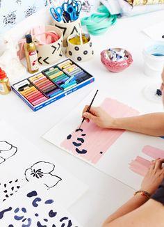Colorful workspace. Painting: Lara Davies. Photo: Sean Fennessy via The Design Files