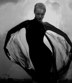 black, movement, sheer, fabric, fluidity, black and white, fashion photography