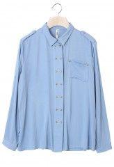 Stud Trim Single Pocket Blue Shirt