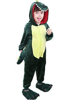 Ikerenwedding Childrens Green Dinosaurs Pyjamas Kids Cosplay Onesie Costume -- See this great product-affiliate link-affiliate link.