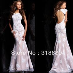 2014 New Arrival Hign Neck Cap Sleeve White/Nude Long Open Back Lace Mermaid Prom Dresses US $139.00