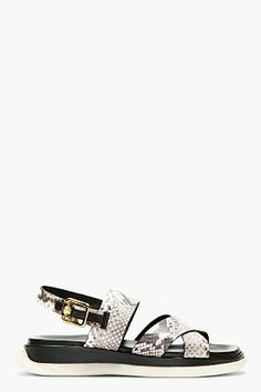 Versace Brown Leather PYTHON Slingback Sandal