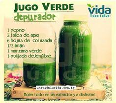 Jugo verde depurador: http://www.lavidalucida.com/2012/09/batidos-verdes-vs-zumos-verdes.html