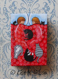 Six 6 Cats in a Bed Original Whimsical Folk by ArtbyLisaMNelson