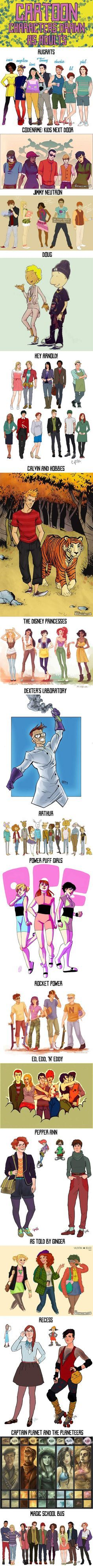 Cartoon characters drawn as adults…