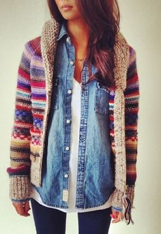 chunky knit fair isle sweater over a denim shirt