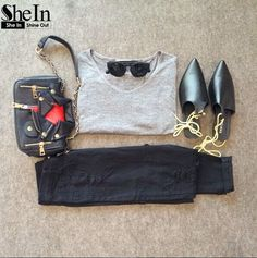 Grey V Neck Short Sleeve Loose T-Shirt