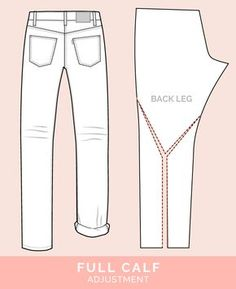 Sewing Techniques Advanced Full Calf Adjustment // 12 common jeans and pants adjustments // Closet Case Files - Master jean fitting adjustments with these tips for your best fitting jeans! We illustrate how to diagnose fit issues, and how to fix them. Sewing Blogs, Sewing Hacks, Sewing Tutorials, Sewing Patterns, Sewing Jeans, Sewing Clothes, Techniques Couture, Sewing Techniques, Sewing Alterations