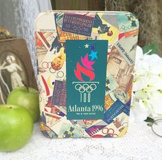 Atlanta Olympics tin box rectangle canister storage container advertising Hallmark decorative retro red kitchen decor by WonderCabinetArts