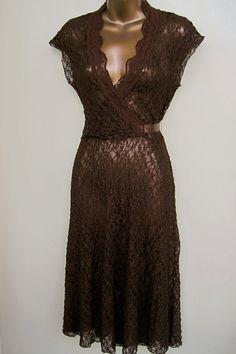Lace See Thru Dress Chocolate Brown Vintage by MyWanderingEye