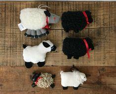 Vintage Mixed Lot of 6 Fabric Sheep Lamb Wool Christmas Ornaments #Christmas