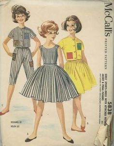"""An original ca. 1961 McCall's pattern 5838.  GIRLS' SPORTS-DRESS WITH ATTACHED PETTICOAT, JACKET & PEDAL PUSHERS. A """"Mother & Daughter"""" fashion, for Mother see McCall's 5828. Back buttoned dress with dart-fitted bodice and four-gore skirt with unpressed pleats, single breasted short jacket and dart fitted pedal pushers. Sleeveless dress has scoop neck, net petticoat in waistline seam, belt in front waistline seam. Jacket has short set-in sleeves. Bodice and jacket lined with organdy. Pedal…"""