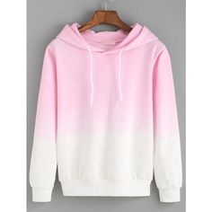 Hooded Pink Ombre Loose Sweatshirt ($13) ❤ liked on Polyvore featuring tops, h...