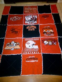 Oklahoma State University t-shirt rag quilt