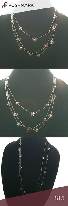 Necklace Long necklace silver chain and pink &purple beads Jewelry Necklaces