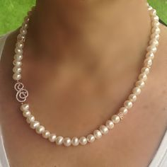 MOTHER'S DAY SALE!!!  Pearl necklace with rose silver zirconia ornaments by CharmByIA,