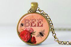 Bee Necklace, Honeybee Art Pendant, Bees and Flowers Charm, Bee Jewelry (193)