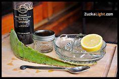 Aloe lemon Scrub: 3-4 Tablespoons Aloe vera gel, Juice from 1/2 a Lemon, 2 Tablespoons of coarse Sea Salt or sugar