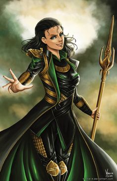 Lady Loki by Vinnie14 on DeviantArt  Gold Detail on knees and side of thighs