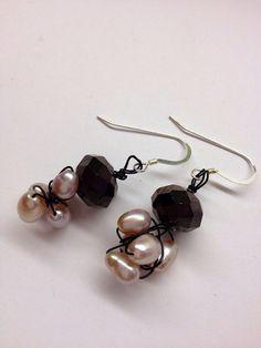 Swarovski crystal and freshwater pearl earrings on by daretodangle, $24.95