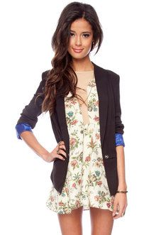 Back to Business Blazer in Black and Blue from TOBI...amazing store, I want it all! cute blazer? check!