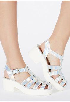 513e90012140 Ludovina Holographic Platform Sandals - Footwear - Sandals - Missguided  3   3
