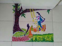 Indian Rangoli, Kolam Rangoli, Rangoli Ideas, Rangoli Designs, Special Rangoli, Composition Art, Key Holders, Diwali, Board