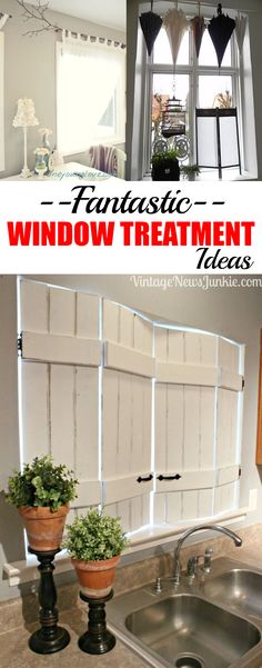 Fantastically unique window treatment ideas. Great ideas to upcycle old treasures to dress your windows!