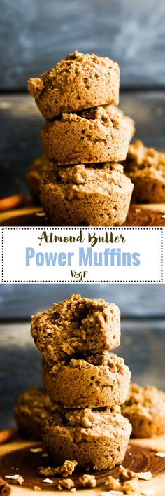 These almond butter power muffins are vegan, gluten free, refined sugar free, & packed with plant based protein!They're a delicious, healthier snackoption filled with flavor.