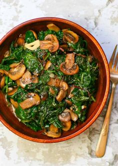 Sauteed Power Greens and Mushrooms very easy and yummy just used kale and spinach, and i may have used quite a bit of butter. Veggie Dishes, Veggie Recipes, Vegetarian Recipes, Cooking Recipes, Healthy Recipes, Cooked Spinach Recipes, Chard Recipes, Side Dishes, Recipes With Kale