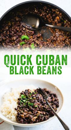 These quick Cuban black beans and rice use canned beans as a shortcut: but theyre full of big flavor! Heres how to make Cuban black beans at home. #blackbeans #beans #cuban #rice #healthy #recipe #mealprep #vegetarian #vegan #glutenfree #plantbased