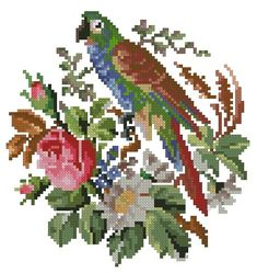 Parrot in flowers antique pattern for cross stitch or by Smilylana