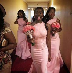 Mermaid Pink Bridesmaid Dress Sweep Trian For Wedding Party Gold Bridesmaid Dresses, Always A Bridesmaid, Bridesmaid Outfit, Wedding Bridesmaids, Wedding Dresses, Black People Weddings, Designer Wedding Gowns, Gown Designer, Marie
