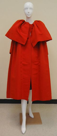 Evening coat House of Balenciaga (French, founded 1937) Designer: Cristobal Balenciaga (Spanish, Guetaria, San Sebastian 1895–1972 Javea) Department Store: Bergdorf Goodman (American, founded 1899) Date: fall/winter 1954–55 Culture: French Medium: silk Dimensions: Length at CB: 48 in. (121.9 cm) Credit Line: Gift of Mrs. Byron C. Foy, 1957 Accession Number: C.I.57.29.8