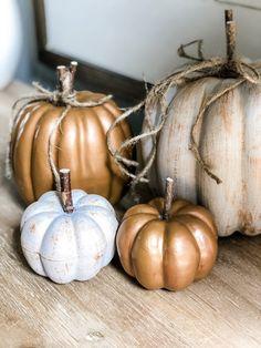 Dollar Tree Pumpkins, Plastic Pumpkins, Foam Pumpkins, Dollar Tree Decor, Painted Pumpkins, How To Paint Pumpkins, Glitter Pumpkins, Fabric Pumpkins, Diy Pumpkin