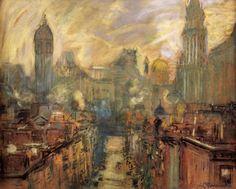 Abaissez New York, du Manhattan Bridge, dessin de Arthur Clifton Goodwin (1864-1929, United States)