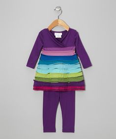Take a look at this Purple Tiered Tunic & Leggings - Infant by Rare Editions on #zulily today!