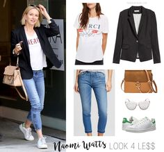 Blazer, graphic tee and Adidas - love this uniform for running errands