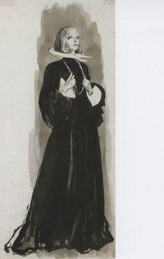 Adrian - Esquisse et Croquis - Costumier - La Reine Christine - 1933 - Greta Garbo