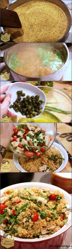 Toasted Couscous Salad with Asparagus and Tomatoes - Toasting makes the couscous fragrant, and gives it a slightly nutty flavor. I added enough protein and veggies to make it a full but light meal, a...