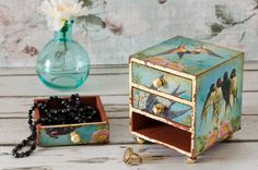 Swallows Jewellery Box  Mini Chest of Drawers  by TrinketDrawers