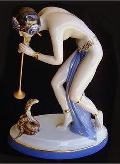 Czech Royal Dux Art Deco Female Snake Charmer