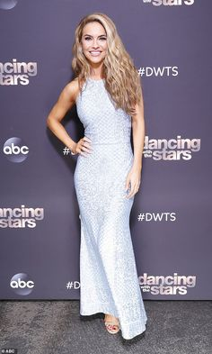 Pretty: Selling Sunset star Chrishell, 39, wore a sleeveless full-length pale blue dress for the occasion and her long blonde hair was styled in tousled waves falling around her shoulders Pale Blue Dresses, Dancing With The Stars, Blonde Hair, Seasons, Dance, How To Wear, Blonder Hair, Dancing, Seasons Of The Year