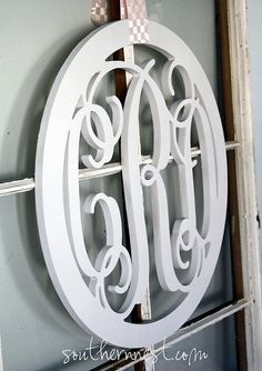 Cute!  Monogram instead of a wreath. I'd like to hang this on my large kitchen window.
