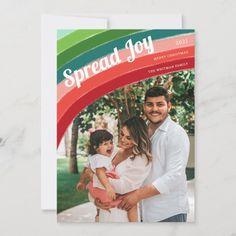 Merry Christmas Family, Christmas Photo Cards, Retro Christmas, Christmas Colors, Christmas Photos, Holiday Cards, Retro Color, Card Sizes, Rainbow Colors